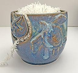 Dark Blue Nautical Sea Turtle and Starfish Yarn Holder Bowl