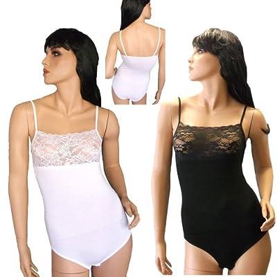 Damen Unterwäsche Body mit Spitze schwarz weiß M L XL from Goncay