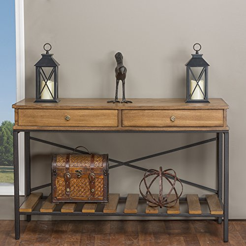 Baxton Studio Newcastle Wood and Metal Criss-Cross Console Table, Brown (Industrial Console compare prices)