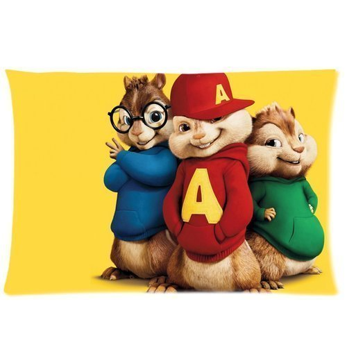 Custom Alvin and the Chipmunks Pillowcase Zippered Two Sides Design Printed 20x26 Throw Pillow Cover Cushion Case Covers