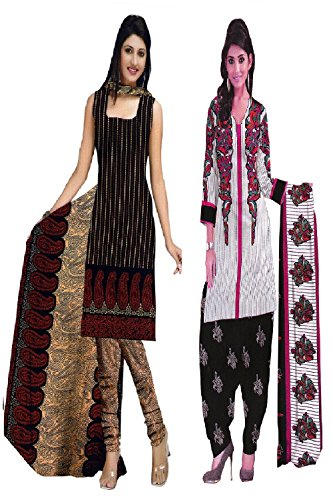Araham soft crepe / American crepe dress material / unstitched Salwar Suit pack of 2 combo No 519