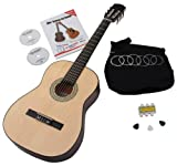 Classic Cantabile AS-851 7/8 Classical Guitar Starter Set (Complete Beginner's Set including Acoustic Guitar, Gig Bag, Replacement Strings, Book with CD and DVD, 3x Plectrums and Pitch Pipe)