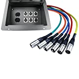 Pro Audio Stage Recessed Floor Box with 110v Electric and XLR Connections (6 XLR, Pre Wired)