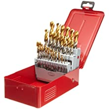 Dormer A097 High Speed Steel Jobber Drill Bit Set, Bright Finish with TiN Coated Tip, Round Shank, 118 Degree Split Point