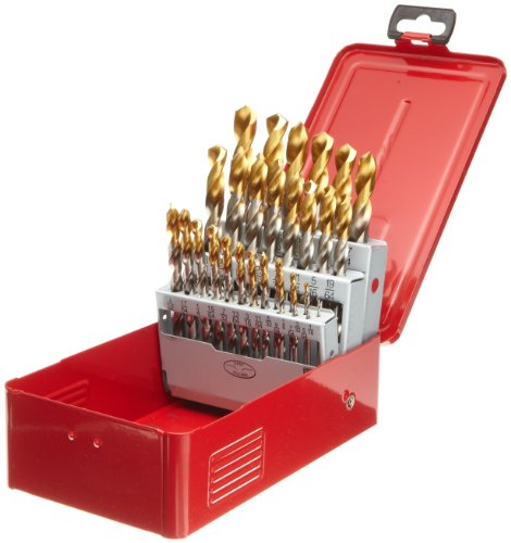 Finish with TiN Coated Tip Bright Round Shank 118 Degree Split Point Uncoated 76 Dormer A012 High Speed Steel Jobber Drill Bit Pack of 10