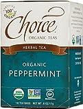 Choice Organic Caffeine Free Peppermint Herbal Tea, 16 Count Box