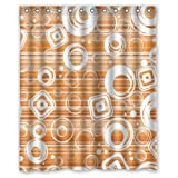 "Popular Modern Cool Lovely Cute White Diamonds Circle Orange Background New Waterproof Polyester Fabric Shower Curtain (60""x72"") Lovely Bathroom Decoration"