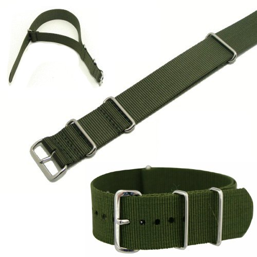 Militray Nato Style Watch Strap Olive Green With Stainless Steel Buckle In Size 18mm, 20mm