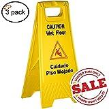 Tiger Chef Yellow Wet Floor Caution Sign, 2-sided Fold-out, Floor Safety Sign, Caution Wet Floor 24-inch By 12-inch Cuadado Piso Mojado