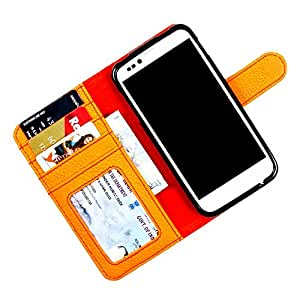 For iPhone 4 / 4S - PU Leather Wallet Flip Case Cover