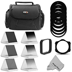 Complete ND Neutral Density Filter Set Compatible with Cokin P Series - Includes: Graduated ND2 ND4 ND8, Full ND2 ND4 ND8 Filters, DSLR Camera Bag, Square Filter Holder, Square Lens Hood, Complete Adapter Ring Set, MagicFiber Microfiber Lens Cleaning Cloth
