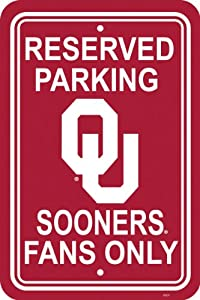Buy NCAA Oklahoma Sooners 12-by-18 inch Plastic Parking Sign by BSI