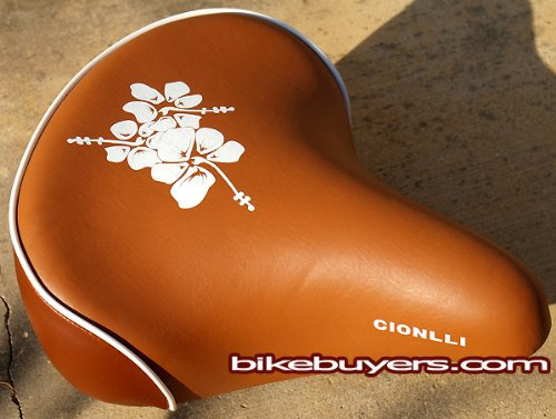Cionlli Saddle - Brown with white flowers, Classic Style Seat for Beach Cruiser Bikes, Twin-spring suspenion