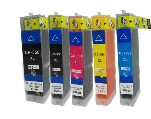 N.T.T.® - 5 x Stück XL Tintenpatronen / Druckerpatronen kompatibel zu PGI-550PGBK , CLI-551BK, CLI-551C, CLI-551M, CLI-551Y - Pixma IP 7250 IP 8750 IX 6850 MG 5450 MG 5550 MG 6350 MG 6450 MG 7150 MX 725 MX 925