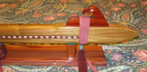 Native American Flute - Made From Cherry Wood - Key of Deep Low B - Professional, with Stand and Travel Bag.