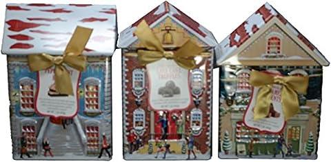 Harry London Village Dark Chocolate Peppermint Bark Tins (Variety Pack of 3) - Harry London Truffles