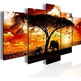 200x100 cm !!! RIESEN-FORMAT + BILD AUF LEINWAND + 5 TEILIG + AFRIKA SONNENUNTERGANG PANORAMA + Wandbilder 051378 + 200x100 cm