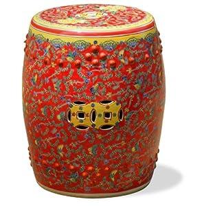 Porcelain Garden Stool - Red & Yellow Butterflies Design