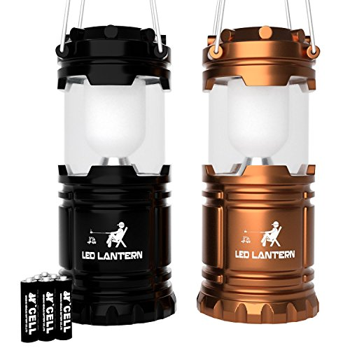 MalloMe LED Camping Lantern Flashlights - Backpacking & Camping Equipment Lights - Best Gift Ideas (6 AA Batteries Included), Black and Gold