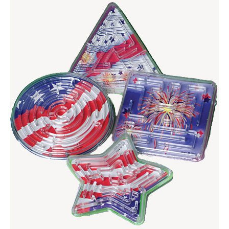 Lot Of 12 Assorted Patriotic Maze Puzzles - 2.5""