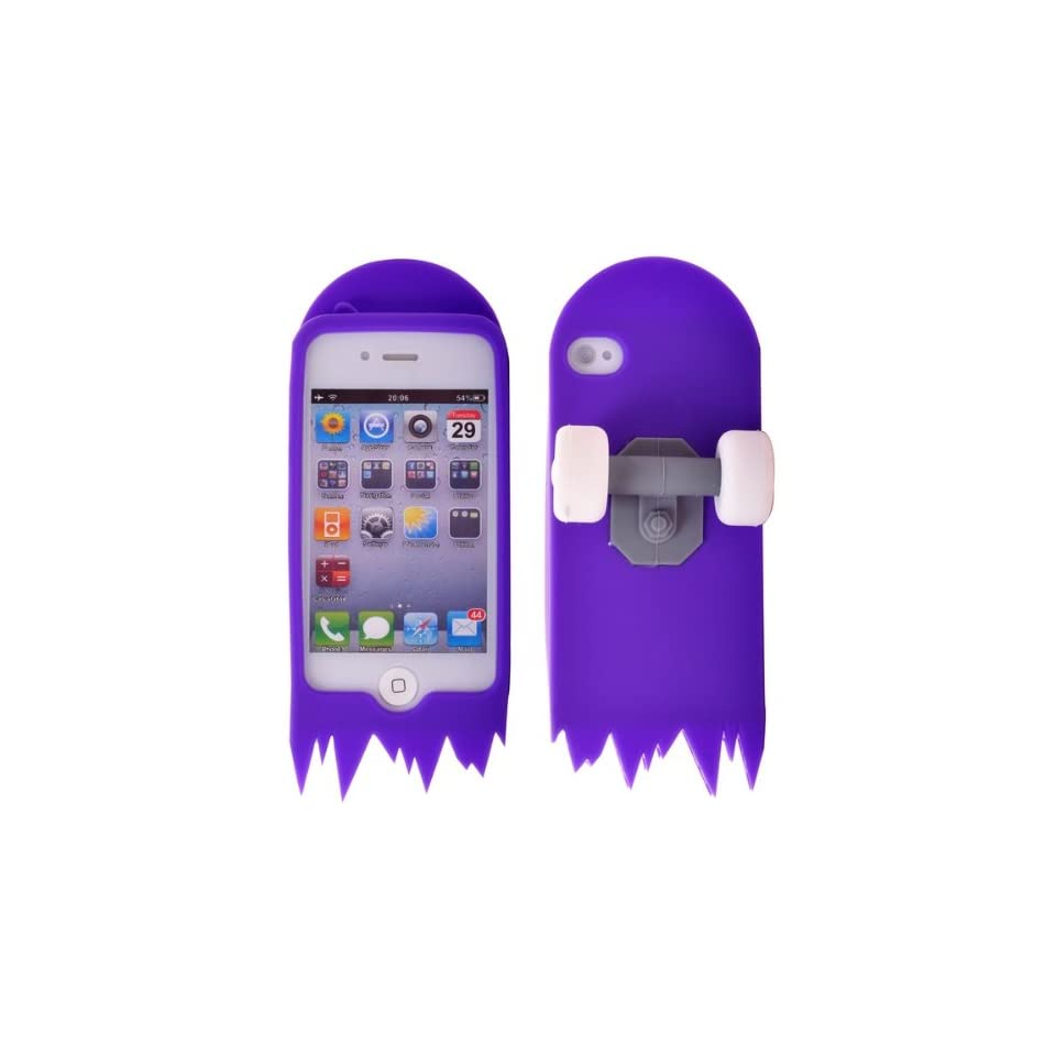 Hot Wheel Design Soft Silicone Back Skin Case for iPhone 4S/iPhone 4 (Purple)
