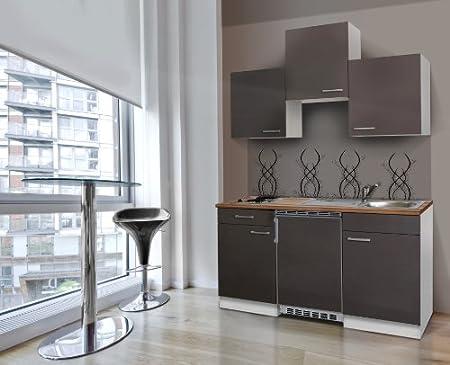 respekta Single Kuche Kuchenzeile Kuchenblock 150 cm weiß grau mit APL Butcher Nussbaum Ceran KB150WGC
