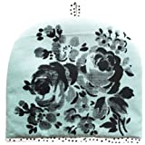 Lisa Stickley Tea Cosy Stone Blue with Charcoal Hankie Flower Design