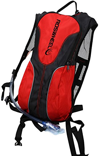 Layopo Roswheel 2L Hydration System Water Bag Pouch Climbing Hiking Backpack With Bladder Bag,Black And Red With Layopo'S Carabiner front-158250