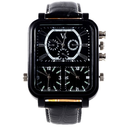 2013Newestseller Sport Pu Leather 3 Time Zones Wrist Watches Rectangle Watches