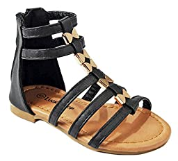 Baby Girls Avery1A Black Cute Bow Tie Leatherette Strappy Gladiator Roman Toddler Infant Sandals-8