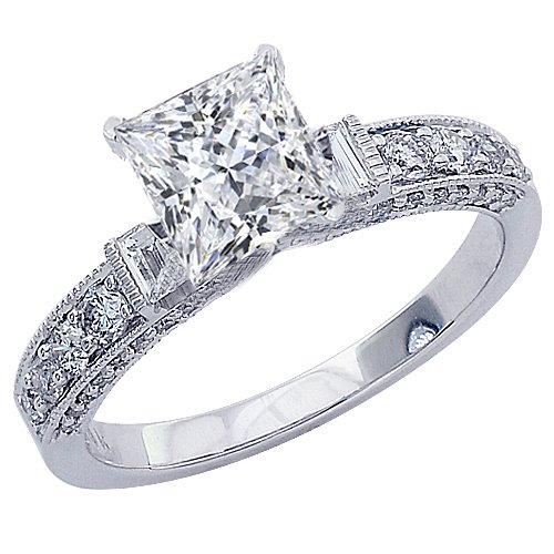 1.23 Carat Gia Certified Princess Cut / Shape 14K White Gold Gorgeous Prong Set Round And Half Bezel Baguette Diamond Engagement Ring ( F Color , Vs1 Clarity )