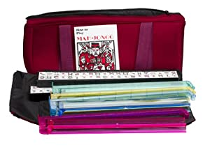 New 166 Tile Full Size American Mah Jongg Set Soft Burgundy Bag Case & 4 Color Pushers