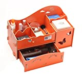 niceeshop(TM) Wooden Makeup Storage Display Box Jewelry Cosmetic Beauty Organizer with Drawers (Orange Yellow,Large Size)