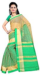Veer Prabhu Creation Women's Cotton Saree with Blouse Piece (Green)