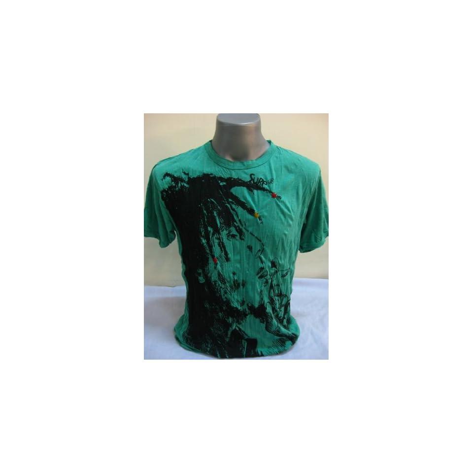 Thailand Sure Green Bob Marley Smoking Wrinkle T shirt