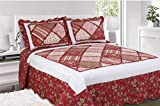 Single Bed Floral Red Stripe Farrah Bedspread Quilted Comforter Throw Traditional Country Cottage