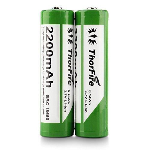 2 Pièces Piles 18650 ThorFire 3.7V 2200mAh Li-ion Rechargeable Batteries pour LED Lampe Torche Camping Randonnée Chasse Vélo