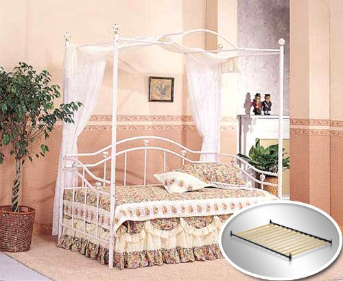Girls White Sweetheart Canopy Twin Day Bed Day Bed Set with Bed Slats Bunkie Boards & Rails