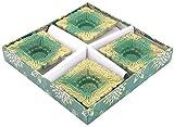 Flambeau Color Diya - Pack of 4 (CD04, Green & Gold, 19 cm x 19 cm)