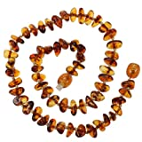 Genuine Baltic Amber Teething Necklace for Baby - Cognac Beads