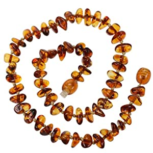 Amberbeata Genuine Baltic Amber Teething Necklace for Baby - Honey, Cognac Beads