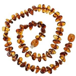 Amberbeata Genuine Baltic Amber Teething Necklace for Baby - Honey, Cognac Beads