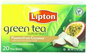 Lipton Tea Bag Green Tea Superfruit, Passionfruit and Coconut, 20 Count Package