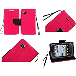 HR Wireless LG 306G Premium PU Leather Flip Wallet Cover - Retail Packaging - Hot Pink