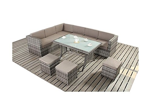 Avignon Garten Möbel grau und Kaffee Ecke Sofa Esstisch Set