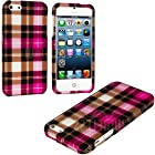 myLife Pink Checkered Plaid Series (2 Piece Snap On) Hardshell Plates Case for the iPhone 5/5S (5G) 5th Generation Touch Phone (Clip Fitted Front and Back Solid Cover Case + Rubberized Tough Armor Skin)
