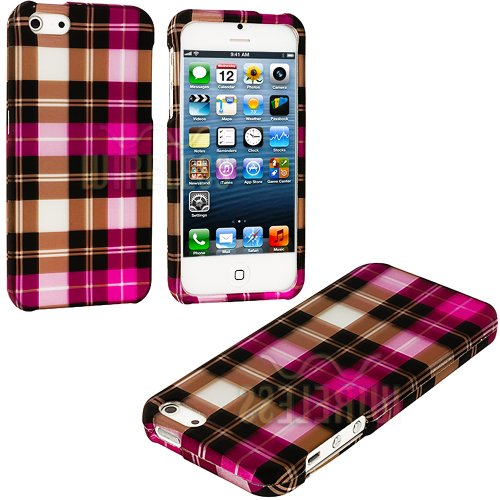 Mylife (Tm) Pink Checkered Plaid Series (2 Piece Snap On) Hardshell Plates Case For The Iphone 5/5S (5G) 5Th Generation Touch Phone (Clip Fitted Front And Back Solid Cover Case + Rubberized Tough Armor Skin + Lifetime Warranty + Sealed Inside Mylife Autho