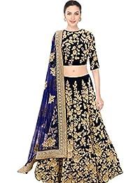 Designer Bollywood Style Navy Blue Velvet Embroidery Work Semi-Stitched Lehenga Choli