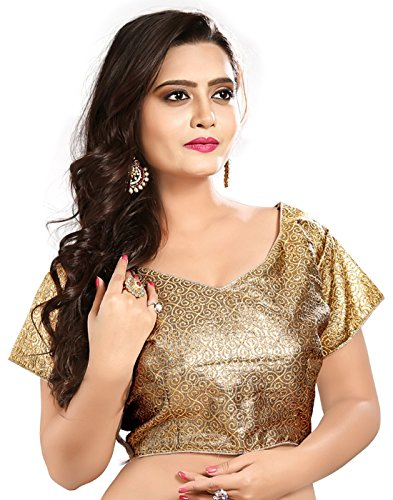 Heavy Saree Blouse Designer Brocade Gold Embroidered Zari Work Women Ethnic Wear Ready Made Stitched Blouse For Wedding & Party (Only Choli)  available at amazon for Rs.522