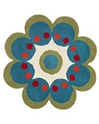 Area Rug, Turquoise Kids Flower Shaped Wool Carpet, 3\' Flower